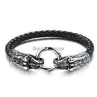Men's Black Braided Leather Stainless Steel Dragon Head Cuff Bangle Bracelet