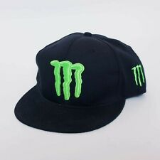 Monster Energy Snapback Cap - Mens Black Flat Brim Hat One Size Fits All
