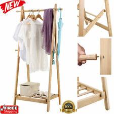 "59"" Folding Laundry Clothes Storage Drying Rack Heavy Duty w/ Hooks Shoe Shelf"