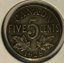 1928 Near S ~ CANADA NICKEL (5 cents) ~ GEORGE V ~ F15 Condition ~ REPRICED!!!