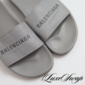 MOST WANTED Balenciaga Paris Made in Italy Cloud Grey Leather Sandals Slides 42