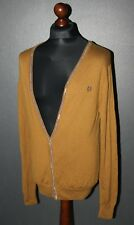Fred Perry mens brown cardigan Size M 100% wool