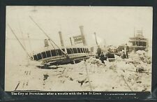 MO St. Louis RPPC 1914 SS CITY of PROVIDENCE CRUSHED by ICE Shipwreck Bregstone