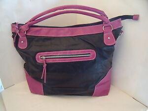New Very Large Faux Leather Handbag Shoulder Bag in Black Pink or Blue