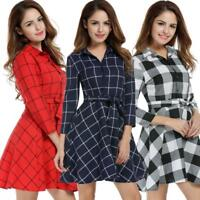 Women Lapel 3/4 Sleeve Plaid Belted Casual Swing Shirt Dress GDY7