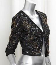 TOPSHOP Womens Black Embelished Beaded 3/4 Sleeve Cropped Jacket Coat 8/4 NEW