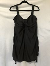 Lands' End One Piece Skirted Black Swimsuit Women's Size 18W Padded Bra EUC