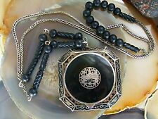 Art Deco Sterling Sterling Black Enamel Glass Bead COMPACT NECKLACE