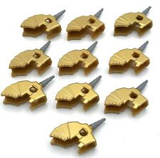 LEGO 10 NEW PEARL GOLD HORSE BATTLE HELMET AND HORN PIECES