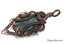 BIG GUATEMALAN JAGUAR JADEITE JADE CABOCHON WIRE WRAP WRAPPED IN COPPER PENDANT