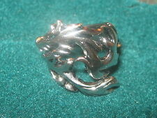 NEW ADJUSTABLE ANTIQUE SILVER STAINLESS STEEL DRAGON RING SIZES 5-12