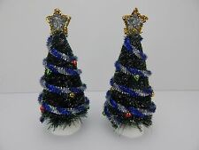 Dept 56 Village Decorated Sisal Trees Set of 2 Trees #52714 D56 Good Condition