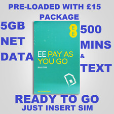 OFFICIAL EE SIM CARD TRIPLE  SIZE STANDARD MICRO, NANO PAY AS YOU GO 5GB DATA