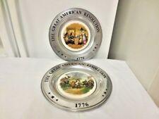Lot 2 Pewter 1975 Canton, Ohio Collector Plates-1776 American Revolution #2157