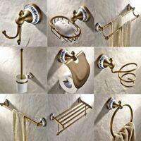Antique Brass Ceramic Flower Bathroom Accessories Set Hardware Towel Bar fset011