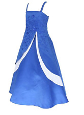 GIRLS GO2VICTORIA SATIN PARTY BRIDESMAIDS FLOWER GIRL PAGEANT DRESS BLUE 4 YEARS