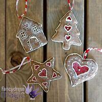 Gisela Graham Hanging Traditional Christmas Tree Heart Gingerbread Decoration