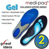 Gel Insoles For Shoes Work Boots Size Mens Womens Orthotic Foot Arch Support UK