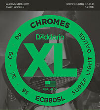 D'Addario ECB80SL CHROMES FLATWOUND BASS STRINGS, SUPER LONG SCALE 4's - 40-95
