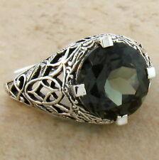 Sterling Silver Filigree Ring Size 8,#529 4 Ct Sim Tourmaline Antique Design 925