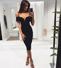 Black Plunge Bardot VBar Bodycon Pencil Wiggle Midi Dress Size 14 ::: Brand new
