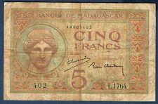 MADAGASCAR - 5 FRANCS Pick n° 35 de 1937 non daté en TB  L.1764 402