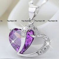 BLACK FRIDAY DEALS Purple Diamond Heart Necklace Xmas Presents Gifts for Wife A7