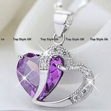 CHRISTMAS GIFTS FOR HER Silver Necklace Amethyst Purple Crystal Lady Girl A101