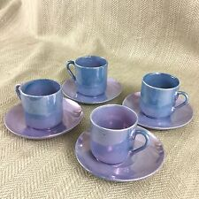 Art Deco Demitasse Coffee Cup & Saucer Set Luster Porcelain Purple Vtg Vintage