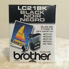 BROTHER LC21BK BLACK INK CARTRIDGE - Genuine - New - Sealed
