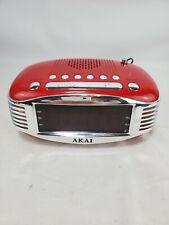 Akai CE1500 Red Clock Radio Retro Am Fm Ppl Radio Wake Up