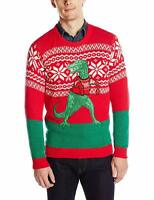 Blizzard Bay Men's Ugly Christmas Sweater Dinosaur, Red/Green, X-Large Tall