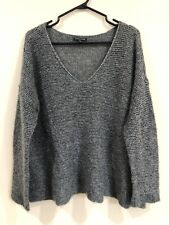 EILEEN FISHER Gray Metallic Knit Woven Long Sleeve Sweater Size Large