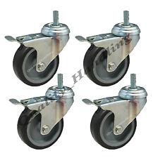 75mm (3 inch) bolt hole braked castors with bolt fitting, set of 4