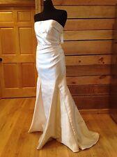 Badgley Mischka Dress Size 6 Ivory Strapless Ruched Mermaid Wedding Train NEW