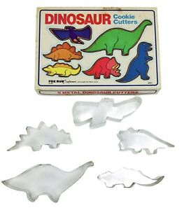 Vintage 1985  FOX RUN  Metal Dinosaur Cookie Cutters Set 5 Pieces With Box  FAST