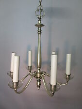Vintage Antique Silver Plate Chandelier Tudor Neo Classical Rewired 6 Arm 40""