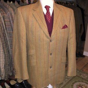 Vintage Mens Tweed Windowpane Check Harris Style Suit Jacket Blazer keepers 40S