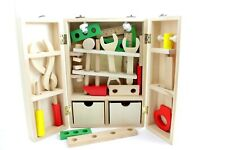 Wooden Toys Carpenter Toolbox Set for Kids Boys Children, Montessori Pretend Toy
