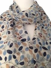Blue Silk Scarf Beige Navy Grey Floral Ladies Flowers Flower Scarf Pure silk New