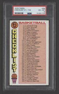 1976 Topps Basketball Card - #48 Checklist #1-144, PSA 6 EXMT