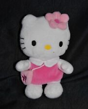 Peluche doudou chat blanc Hello Kitty SANRIO robe rose sac fleur  14 Cm TTBE