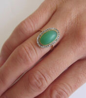 1.20ct ROSE CUT DIAMOND EMERALD ANTIQUE VICTORIAN LOOK 925 SILVER COCKTAIL RING