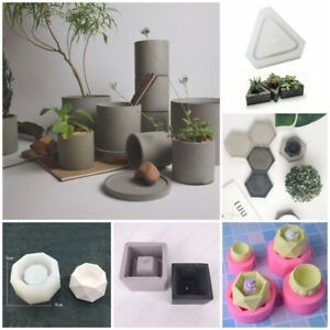 Silicone Flower Pot Mold Concrete Vase Plant Holder Garden Cement DIY Soap Tool