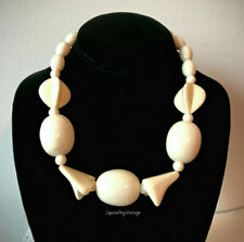 Vintage Lucite Necklace with Extra Large Ivory Colored Beads Great Retro Look