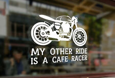 25cm My Other Ride Is Cafe Racer Motorcycle Vinyl Stickers Decal Car Auto Bumper