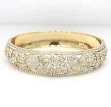 Estate Floral Diamond Bangle Bracelet in 18K Yellow Gold - HM1799