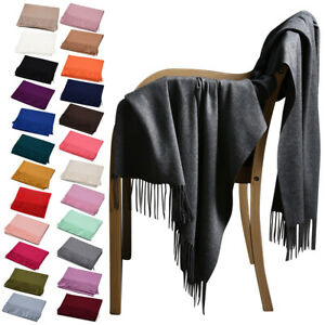 New Elegant Pure Color Faux Pashmina Wool Cashmere Scarf Shawl Women Cape Throws