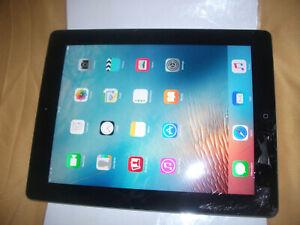 Apple iPad 3rd Gen. 64GB, Wi-Fi + Cellular (Unlocked), 9.7in - Black**CRACKED***