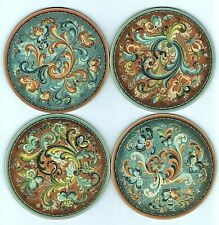 "Set of 4 Coasters:  Norwegian Rosemaling 4"" Diameter Cork Backing, Scandinavian"